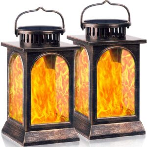TomCare Solar Lights Flickering Flame Metal